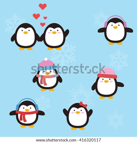 Cute penguin with variation style and position - stock vector