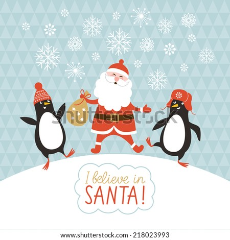 cute penguins and Santa - stock vector