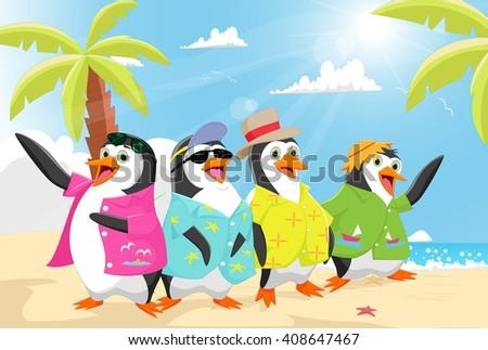 cute penguins on the beach summer - stock vector