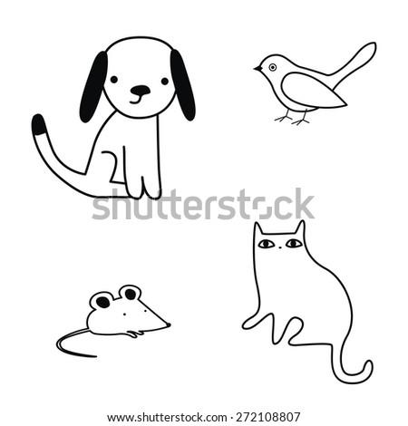 Cute pets coloring illustration set - stock vector