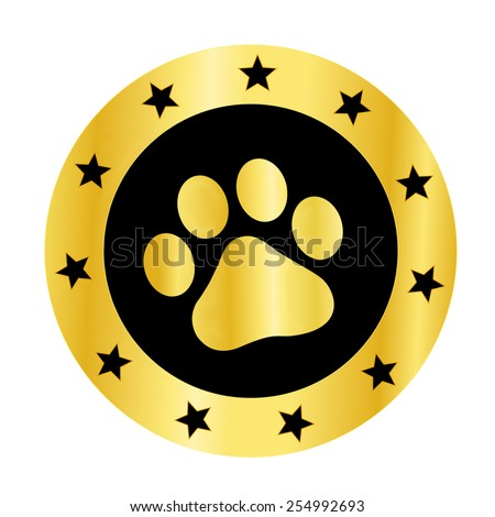 Cute pets [dogs and cats] paw print golden logo / medal isolated on white background - stock vector
