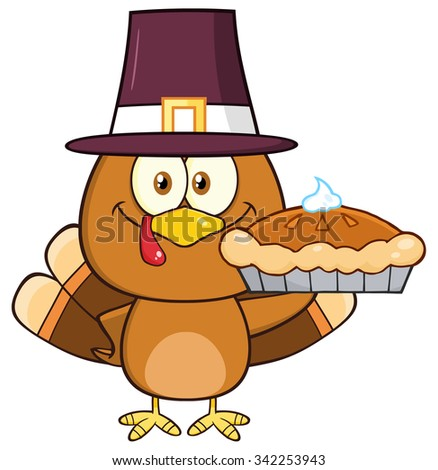 Cute Pilgrim Turkey Bird Cartoon Character Holding A Pie. Vector Illustration Isolated On White - stock vector