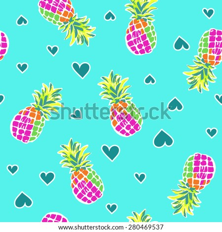 cute pineapples ~ seamless background - stock vector