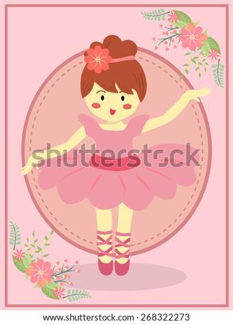 Cute Pink Ballerina Girl. Ballerina girl with pink dress tutu dancing ballet in pink theme background. - stock vector