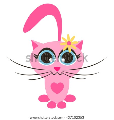 Cute pink cartoon cat with flower - stock vector
