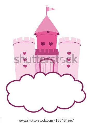 cute pink castle in clouds - stock vector