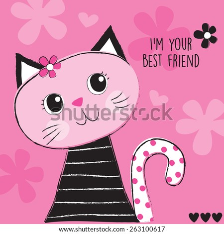 cute pink cat vector illustration - stock vector