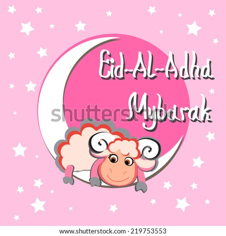 Cute pink Eid-al-Adha Mubarak greeting card. Cartoon cute sheep, Crescent moon, stars. For muslim community festival.  Vector silhouette. For greeting, as decoration. - stock vector