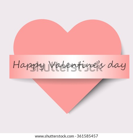Cute pink heart with ribbon and text Happy Valentine's day. Vector illustration, eps10 - stock vector