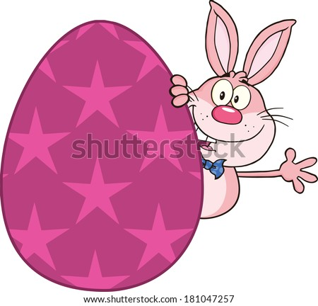 Cute Pink Rabbit Cartoon Character Waving Behind Easter Egg. Vector Illustration Isolated on white - stock vector