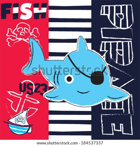 cute pirate fish vector illustration - stock vector