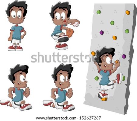 Cute playful cartoon black boy playing baseball, running and climbing a wall  - stock vector