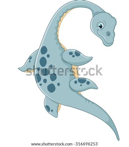 Cute plesiosaurus cartoon - stock vector