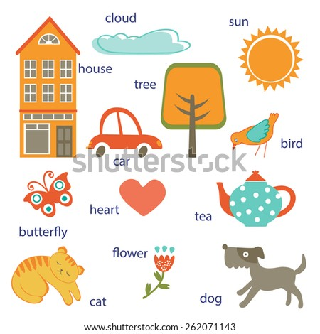 Cute preschool words collection. Colorful vector illustration - stock vector