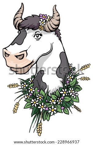 Cute pretty cow portrait surrounded by a bunch of grass and wild flowers, vector illustration - stock vector