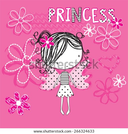cute princess girl, butterfly girl, T-shirt design vector illustration - stock vector