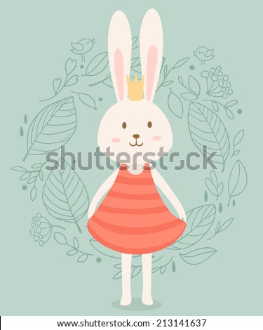 Cute princess rabbit in crown with floral frame. Vector illustration - stock vector