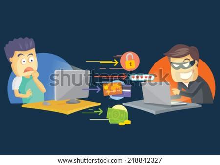 Cute printer vector cartoon character - stock vector
