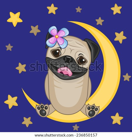 Cute Pug Dog is sitting on the moon  - stock vector