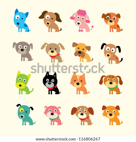 cute puppies dog - stock vector