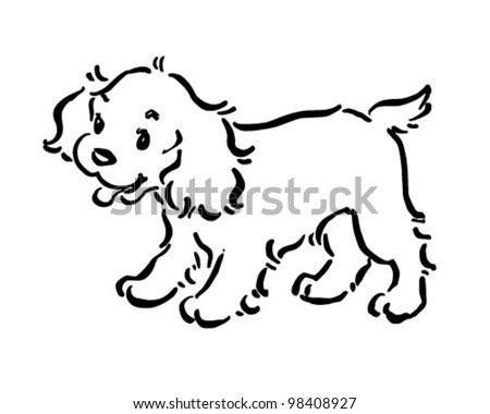 Cute dog clip art black and white - photo#9