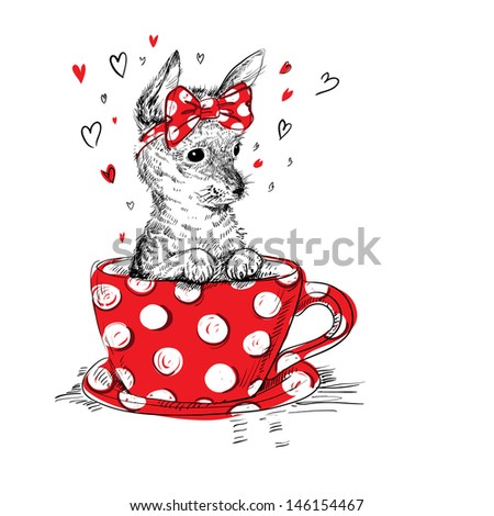 cute puppy in the tea cup - stock vector