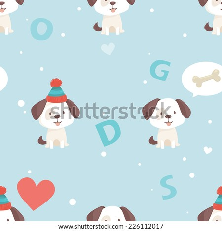 Cute puppy sits in winter hat thinking about  bone, seamless pattern - stock vector