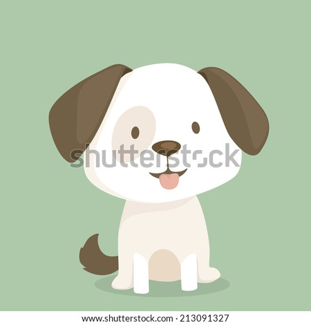 Cute puppy sits, vector illustration - stock vector