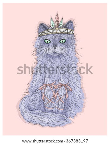 Cute purple cat princess with crown and ribbons. Fairytale vector illustration for kids or children. - stock vector