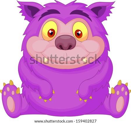 Cute purple monster cartoon - stock vector