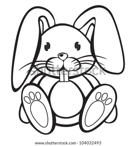 Cute Rabbit black and white - stock vector