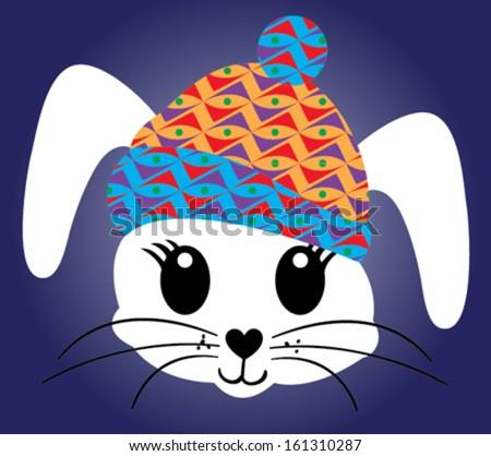 Cute rabbit cartoon - stock vector