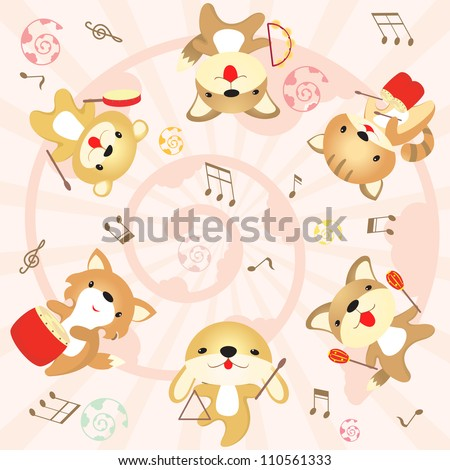 Cute rabbit, dog, cat, fox , bear , animals celebrating and playing music - stock vector