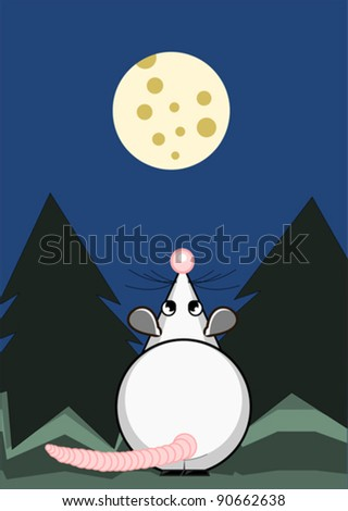 Cute rat and the moon from cheese - stock vector