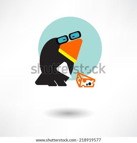 Cute raven cartoon waving - stock vector