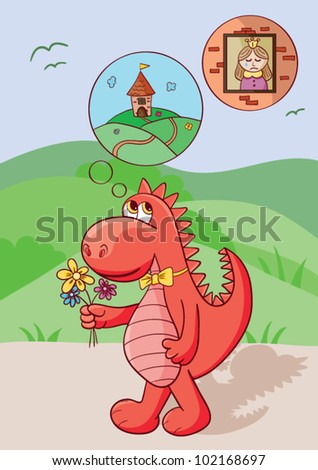 Cute red dragon bears flowers for the princess who cries in a brick tower. - stock vector