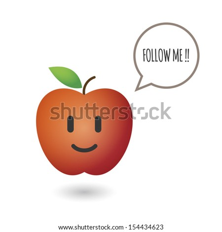 Cute red fresh apple - stock vector