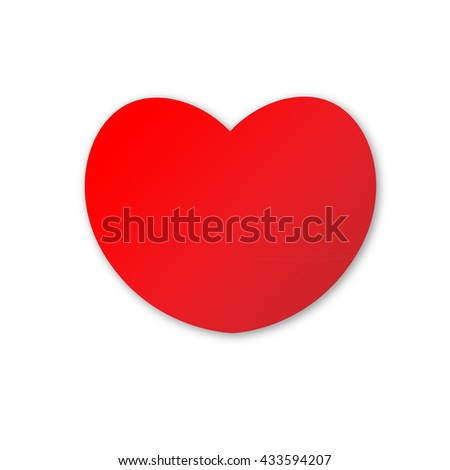 Cute red heart on white background - stock vector