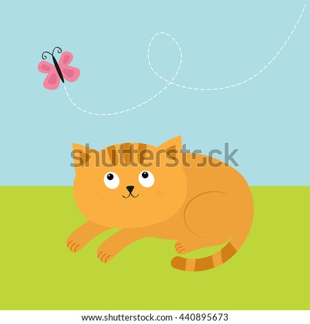 Cute red orange cat lying on grass and looking at flying pink butterfly. Dash line track in the sky. Mustache whisker. Funny cartoon character. Flat design. Vector illustration - stock vector