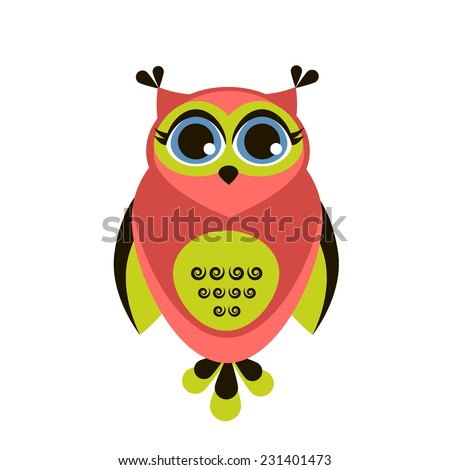 Cute red owl - stock vector