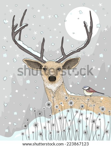 Cute reindeer and bird christmas night background.  - stock vector