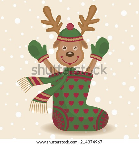 Cute reindeer and sock. Christmas background and surprise with cartoon deer. Colorful vector illustration.  - stock vector