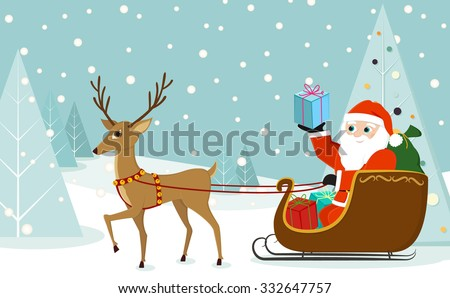Cute reindeer pulling Santa Claus in sleigh in a beautiful winter landscape in flat design in vector - stock vector