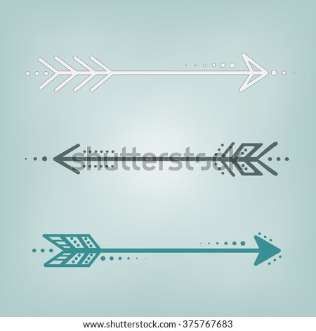 Cute retro arrows in blue, grey and white on a blue teal background, square format for scrapbooking - stock vector