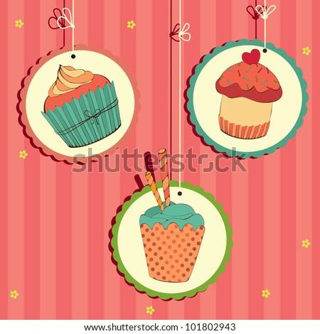 Cute retro cupcake on the string . Vector card. - stock vector