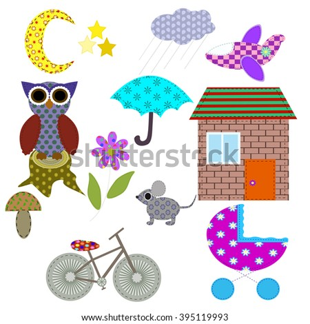 Cute retro elements. Applique of tissue. In the children's style. For your design.Vector illustration. EPS 10 - stock vector