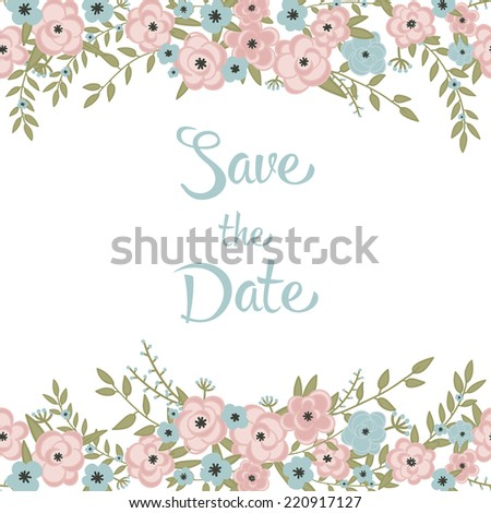 Cute retro floral bouquets and wreath. Vintage floral set. Save the date wedding design collection. Perfect for save the date, baby shower, mothers day, valentines day, birthday cards, invitations. - stock vector