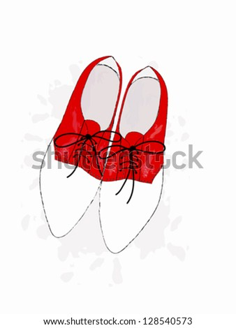 Cute retro red shoes - stock vector