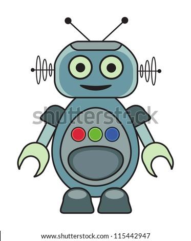 Cute retro robot. - stock vector