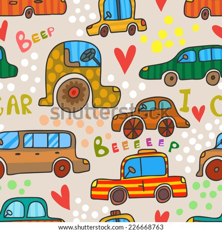 Cute retro seamless pattern of cars in cartoon style. Vector  background in bright colors.Seamless pattern can be used for wallpapers, pattern fills, web page backgrounds,surface textures. - stock vector